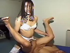 Depraved asian shemale drilling man