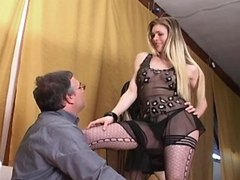 Beautiful trans model seducing dude
