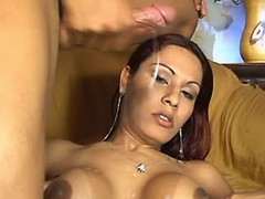 Sexy shemale w large boobs gets cum from sexmv.com