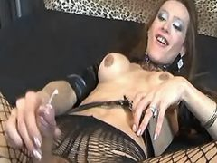 Lustful shemale in stockings jizzes from sexmv.com