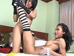 Two tempting asian shemales has fun from sexmv.com