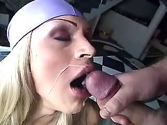 Shemale fucks stud and gets cumload from shemalehotties.com