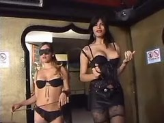 Tranny and slave girl dominate chap