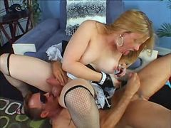 Bloke licks balls to blond busty TS from thebestshemales.com