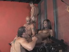 Beautiful black tranny in wild orgy from thebestshemales.com