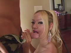 Bald guy fucking w sexy blond tgirl