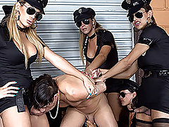 Sexy Shemale Squad Corner Alex and Gangbang Him! from Tranny Gangbanged