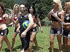 Volleyball Game Turns into Steamy Six Tranny Gangbang! from Tranny Gangbanged