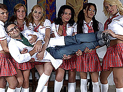 Ultra-Hot Shemale Schoolgirls Group-Fuck Teacher! from Tranny Gangbanged